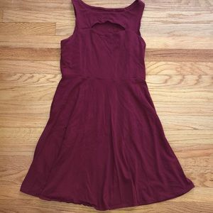 Maroon cut out tank top circle dress